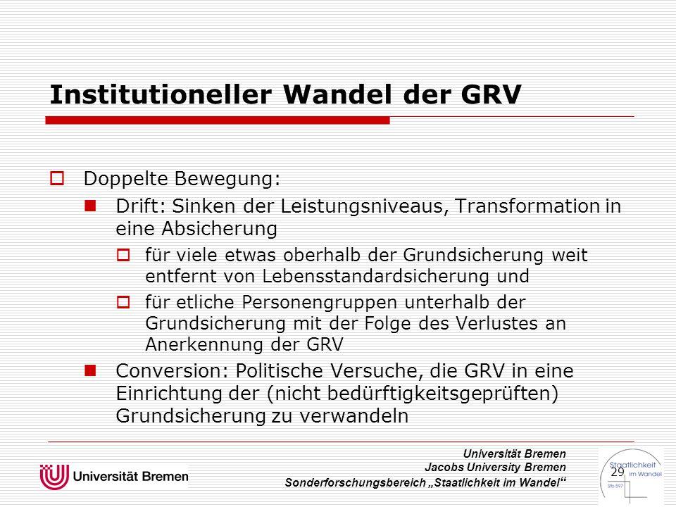 """Universität Bremen Jacobs University Bremen Sonderforschungsbereich """"Staatlichkeit im Wandel """" 29 Institutioneller Wandel der GRV  Doppelte Bewegung:"""