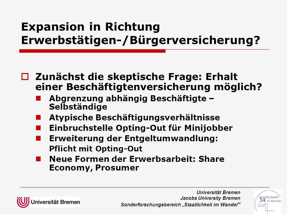 """Universität Bremen Jacobs University Bremen Sonderforschungsbereich """"Staatlichkeit im Wandel """" 34 Expansion in Richtung Erwerbstätigen-/Bürgerversiche"""