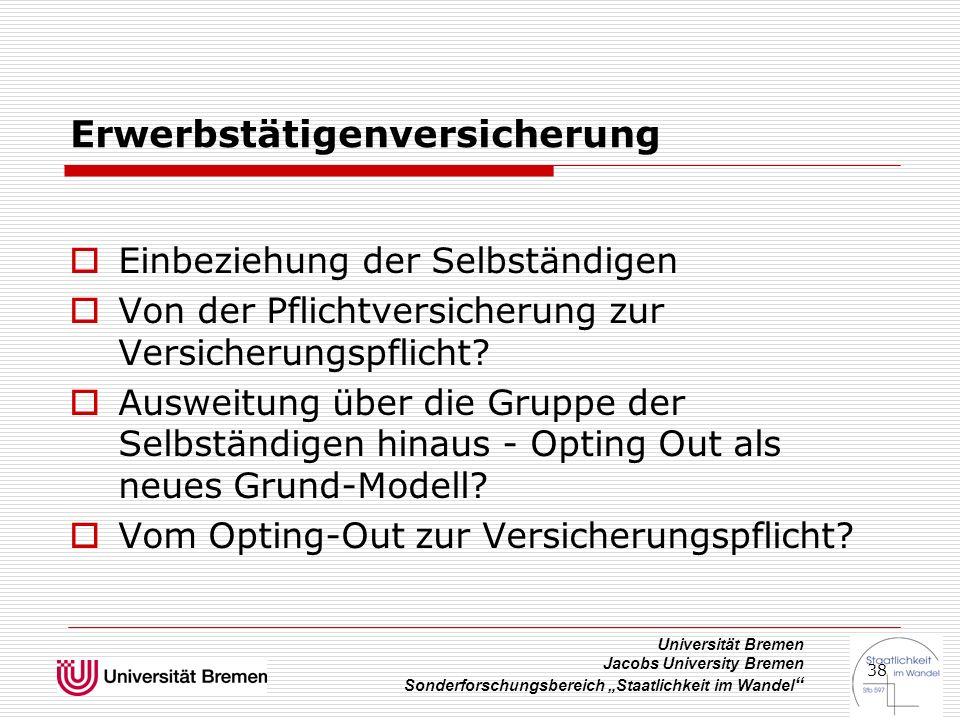 """Universität Bremen Jacobs University Bremen Sonderforschungsbereich """"Staatlichkeit im Wandel """" 38 Erwerbstätigenversicherung  Einbeziehung der Selbst"""