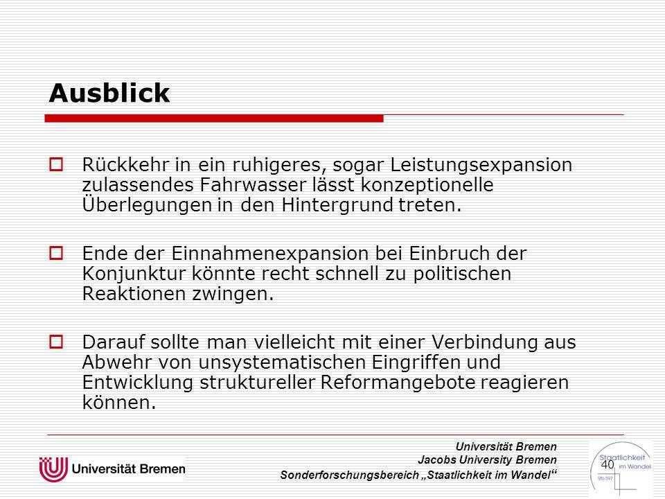 """Universität Bremen Jacobs University Bremen Sonderforschungsbereich """"Staatlichkeit im Wandel 40 Ausblick  Rückkehr in ein ruhigeres, sogar Leistungsexpansion zulassendes Fahrwasser lässt konzeptionelle Überlegungen in den Hintergrund treten."""