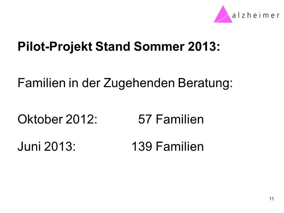 Pilot-Projekt Stand Sommer 2013: Familien in der Zugehenden Beratung: Oktober 2012: 57 Familien Juni 2013: 139 Familien 11