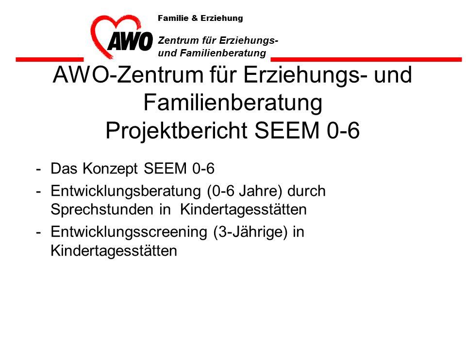 AWO-Zentrum für Erziehungs- und Familienberatung Projektbericht SEEM 0-6 -Das Konzept SEEM 0-6 -Entwicklungsberatung (0-6 Jahre) durch Sprechstunden in Kindertagesstätten -Entwicklungsscreening (3-Jährige) in Kindertagesstätten Familie & Erziehung Zentrum für Erziehungs- und Familienberatung
