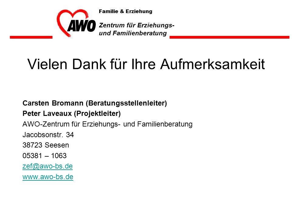 Vielen Dank für Ihre Aufmerksamkeit Carsten Bromann (Beratungsstellenleiter) Peter Laveaux (Projektleiter) AWO-Zentrum für Erziehungs- und Familienberatung Jacobsonstr.