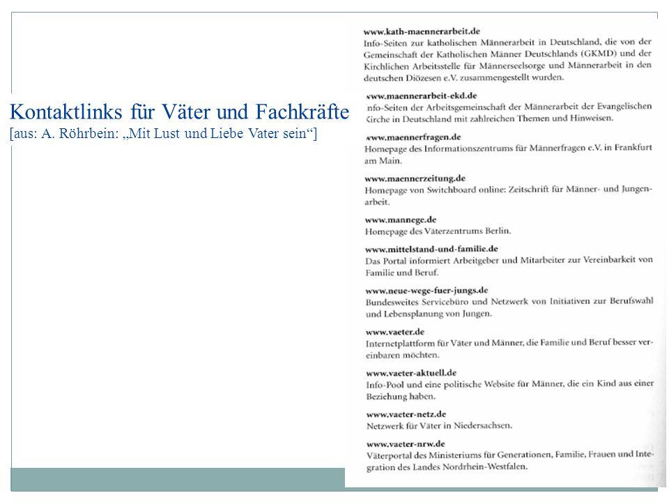 """Kontaktlinks für Väter und Fachkräfte [aus: A. Röhrbein: """"Mit Lust und Liebe Vater sein""""]"""