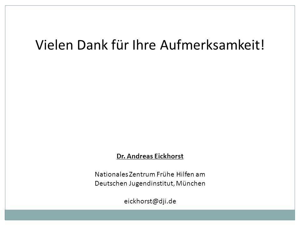 Vielen Dank für Ihre Aufmerksamkeit! Dr. Andreas Eickhorst Nationales Zentrum Frühe Hilfen am Deutschen Jugendinstitut, München eickhorst@dji.de