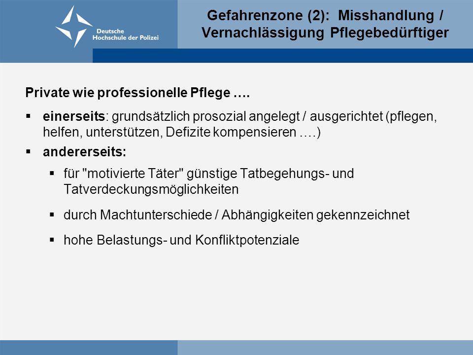Gefahrenzone (2): Misshandlung / Vernachlässigung Pflegebedürftiger Private wie professionelle Pflege ….