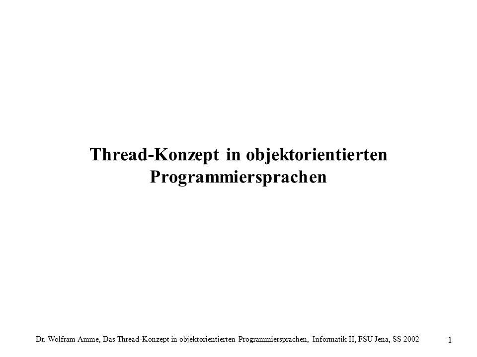 Dr. Wolfram Amme, Das Thread-Konzept in objektorientierten Programmiersprachen, Informatik II, FSU Jena, SS 2002 1 Thread-Konzept in objektorientierte