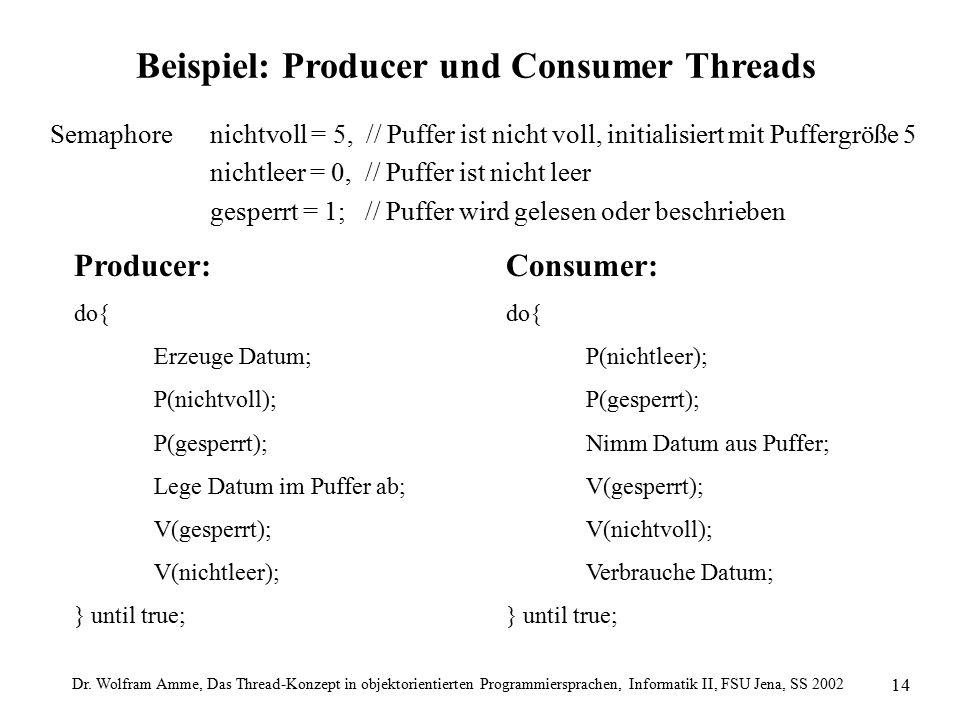 Dr. Wolfram Amme, Das Thread-Konzept in objektorientierten Programmiersprachen, Informatik II, FSU Jena, SS 2002 14 Beispiel: Producer und Consumer Th