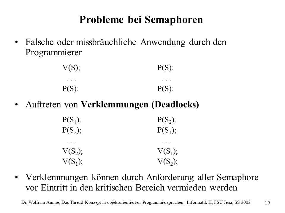 Dr. Wolfram Amme, Das Thread-Konzept in objektorientierten Programmiersprachen, Informatik II, FSU Jena, SS 2002 15 Probleme bei Semaphoren Falsche od