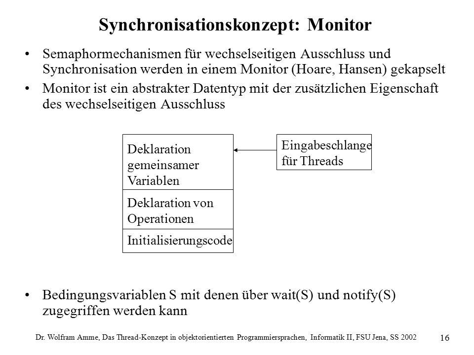 Dr. Wolfram Amme, Das Thread-Konzept in objektorientierten Programmiersprachen, Informatik II, FSU Jena, SS 2002 16 Synchronisationskonzept: Monitor S
