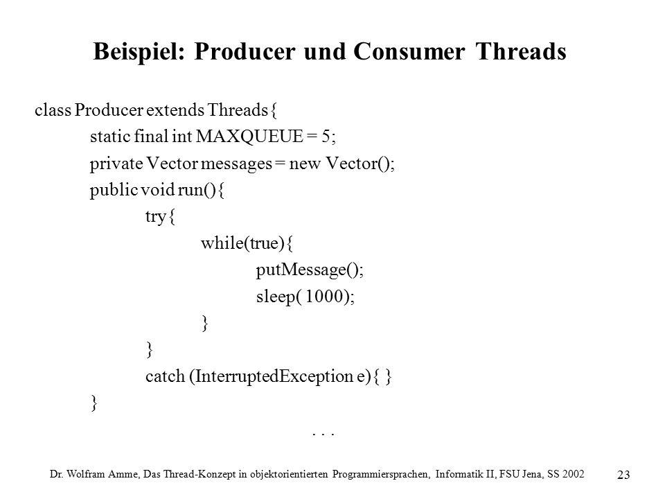 Dr. Wolfram Amme, Das Thread-Konzept in objektorientierten Programmiersprachen, Informatik II, FSU Jena, SS 2002 23 Beispiel: Producer und Consumer Th