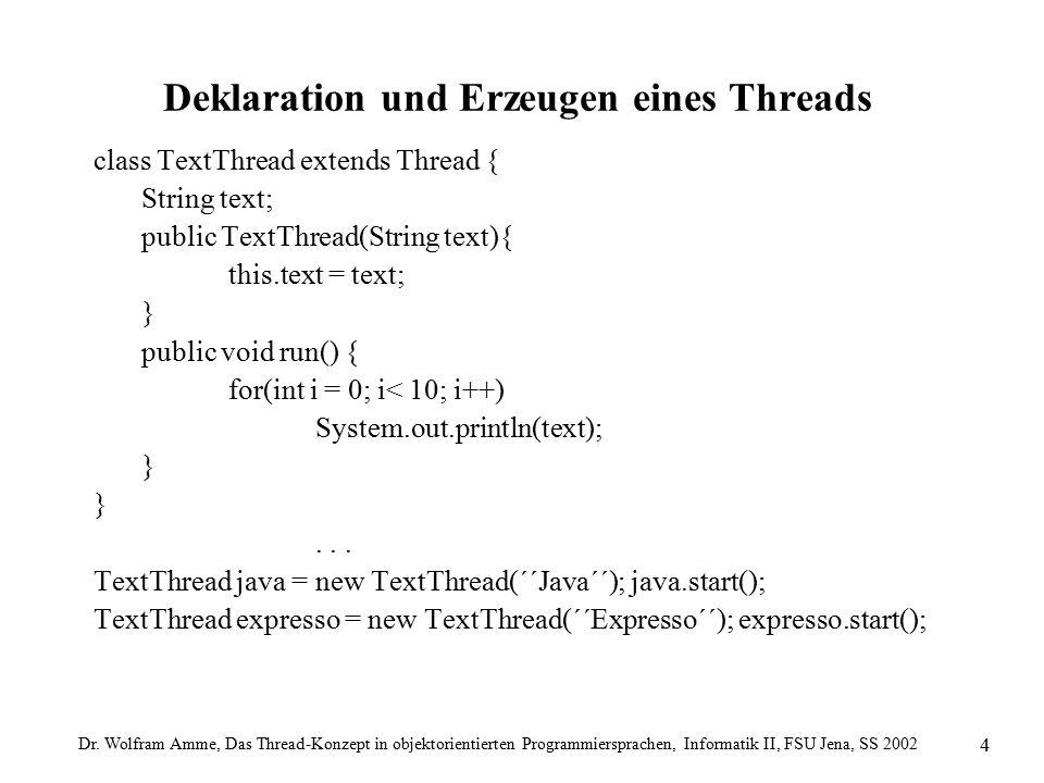 Dr. Wolfram Amme, Das Thread-Konzept in objektorientierten Programmiersprachen, Informatik II, FSU Jena, SS 2002 4 Deklaration und Erzeugen eines Thre