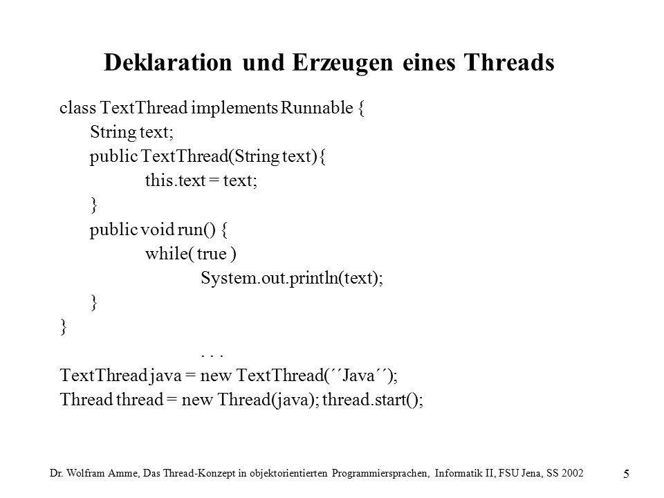 Dr. Wolfram Amme, Das Thread-Konzept in objektorientierten Programmiersprachen, Informatik II, FSU Jena, SS 2002 5 Deklaration und Erzeugen eines Thre