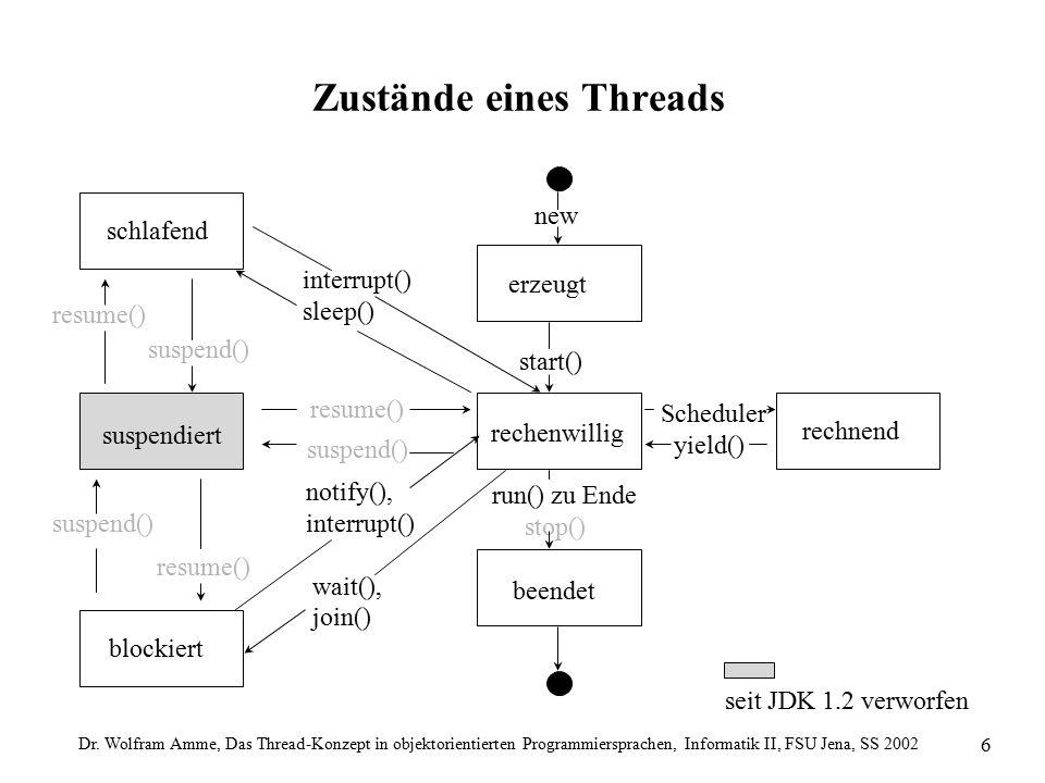 Dr. Wolfram Amme, Das Thread-Konzept in objektorientierten Programmiersprachen, Informatik II, FSU Jena, SS 2002 6 Zustände eines Threads seit JDK 1.2