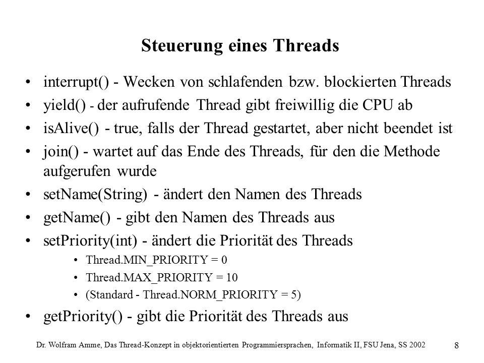Dr. Wolfram Amme, Das Thread-Konzept in objektorientierten Programmiersprachen, Informatik II, FSU Jena, SS 2002 8 Steuerung eines Threads interrupt()