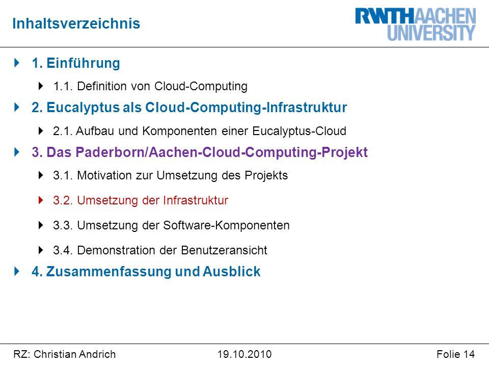 RZ: Christian AndrichFolie 1419.10.2010  1. Einführung  1.1. Definition von Cloud-Computing  2. Eucalyptus als Cloud-Computing-Infrastruktur  2.1.