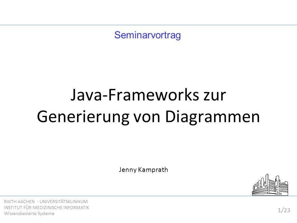 1/23 RWTH AACHEN  UNIVERSITÄTSKLINIKUM INSTITUT FÜR MEDIZINISCHE INFORMATIK Wissensbasierte Systeme Java-Frameworks zur Generierung von Diagrammen Je
