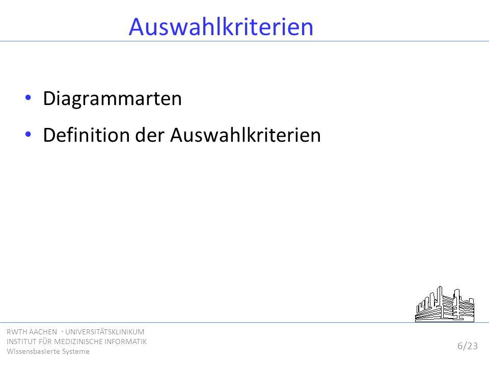 6/23 RWTH AACHEN  UNIVERSITÄTSKLINIKUM INSTITUT FÜR MEDIZINISCHE INFORMATIK Wissensbasierte Systeme Auswahlkriterien Diagrammarten Definition der Aus