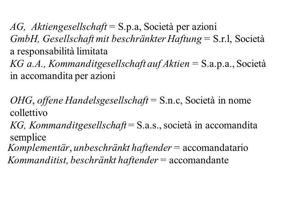 AG, Aktiengesellschaft = S.p.a, Società per azioni GmbH, Gesellschaft mit beschränkter Haftung = S.r.l, Società a responsabilità limitata KG a.A., Kom