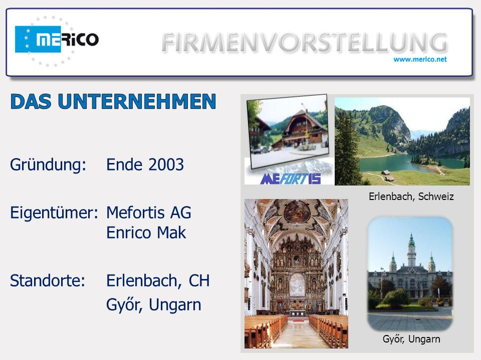 Gründung:Ende 2003 Eigentümer:Mefortis AG Enrico Mak Standorte:Erlenbach, CH Győr, Ungarn Erlenbach, Schweiz Győr, Ungarn
