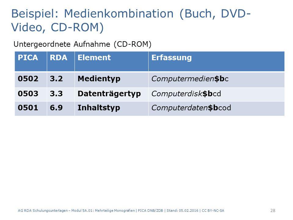 AG RDA Schulungsunterlagen – Modul 5A.01: Mehrteilige Monografien | PICA DNB/ZDB | Stand: 05.02.2016 | CC BY-NC-SA 28 Beispiel: Medienkombination (Buch, DVD- Video, CD-ROM) Untergeordnete Aufnahme (CD-ROM) PICARDAElementErfassung 05023.2MedientypComputermedien$bc 05033.3DatenträgertypComputerdisk$bcd 05016.9InhaltstypComputerdaten$bcod