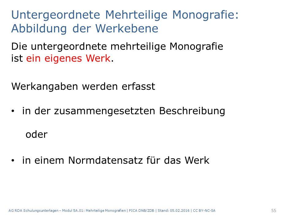 Untergeordnete Mehrteilige Monografie: Abbildung der Werkebene Die untergeordnete mehrteilige Monografie ist ein eigenes Werk.