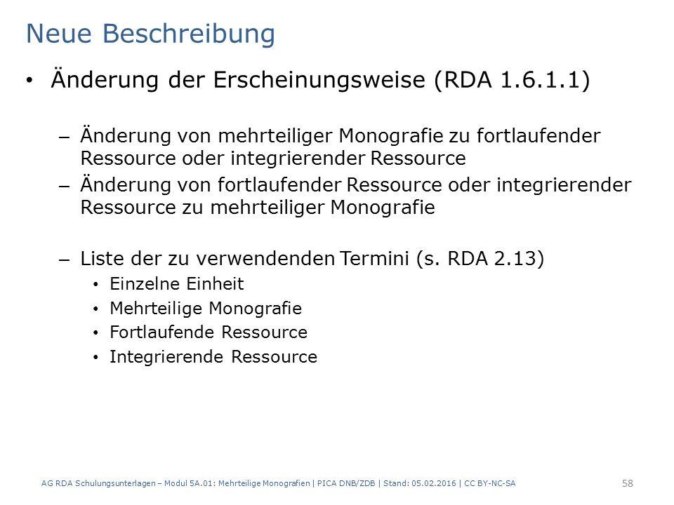 Neue Beschreibung Änderung der Erscheinungsweise (RDA 1.6.1.1) – Änderung von mehrteiliger Monografie zu fortlaufender Ressource oder integrierender Ressource – Änderung von fortlaufender Ressource oder integrierender Ressource zu mehrteiliger Monografie – Liste der zu verwendenden Termini (s.