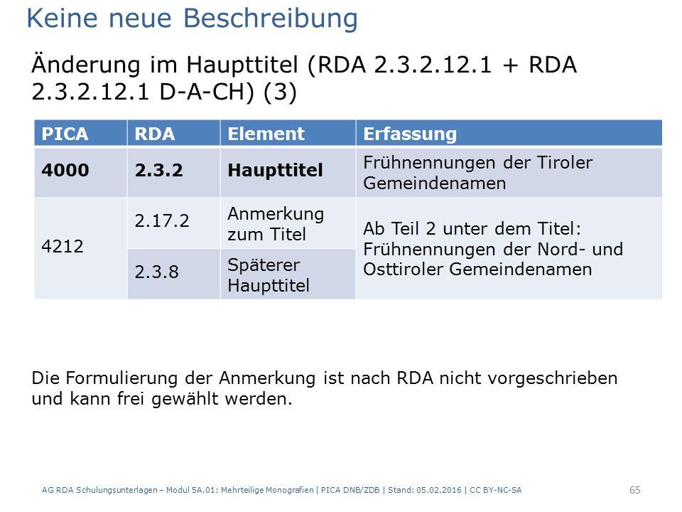 AG RDA Schulungsunterlagen – Modul 5A.01: Mehrteilige Monografien | PICA DNB/ZDB | Stand: 05.02.2016 | CC BY-NC-SA 65 Keine neue Beschreibung Die Formulierung der Anmerkung ist nach RDA nicht vorgeschrieben und kann frei gewählt werden.