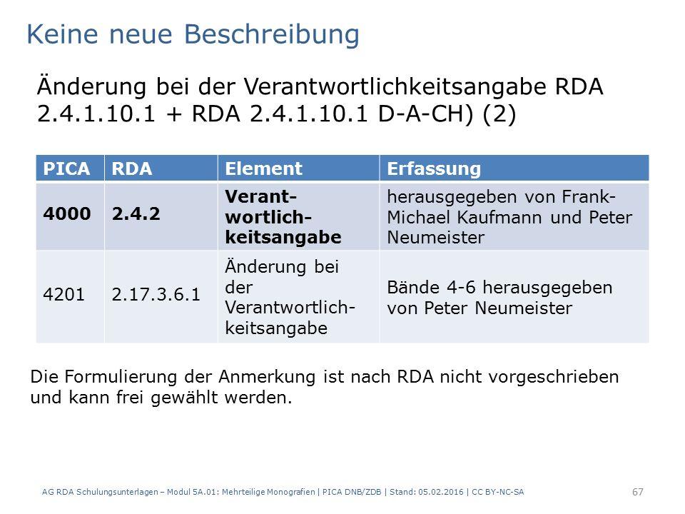 AG RDA Schulungsunterlagen – Modul 5A.01: Mehrteilige Monografien | PICA DNB/ZDB | Stand: 05.02.2016 | CC BY-NC-SA 67 Keine neue Beschreibung Änderung bei der Verantwortlichkeitsangabe RDA 2.4.1.10.1 + RDA 2.4.1.10.1 D-A-CH) (2) Die Formulierung der Anmerkung ist nach RDA nicht vorgeschrieben und kann frei gewählt werden.