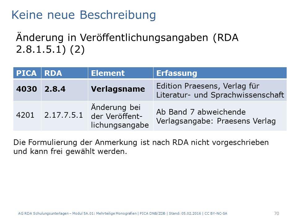AG RDA Schulungsunterlagen – Modul 5A.01: Mehrteilige Monografien | PICA DNB/ZDB | Stand: 05.02.2016 | CC BY-NC-SA 70 Keine neue Beschreibung Änderung in Veröffentlichungsangaben (RDA 2.8.1.5.1) (2) Die Formulierung der Anmerkung ist nach RDA nicht vorgeschrieben und kann frei gewählt werden.
