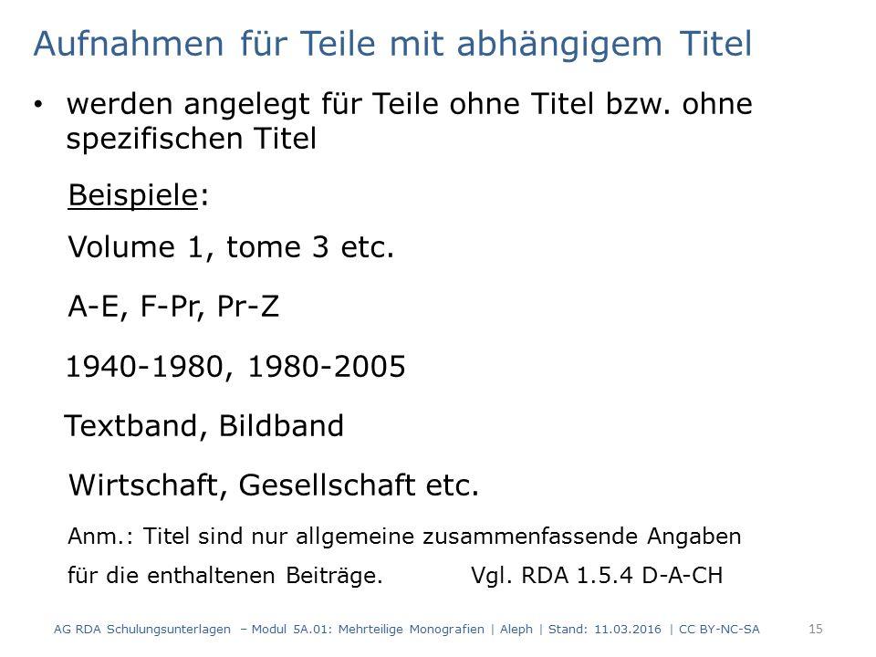 Aufnahmen für Teile mit abhängigem Titel werden angelegt für Teile ohne Titel bzw. ohne spezifischen Titel Beispiele: Volume 1, tome 3 etc. A-E, F-Pr,
