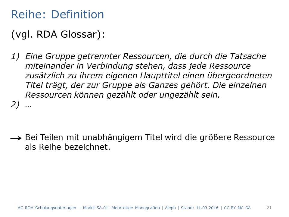 Reihe: Definition (vgl. RDA Glossar): 1)Eine Gruppe getrennter Ressourcen, die durch die Tatsache miteinander in Verbindung stehen, dass jede Ressourc