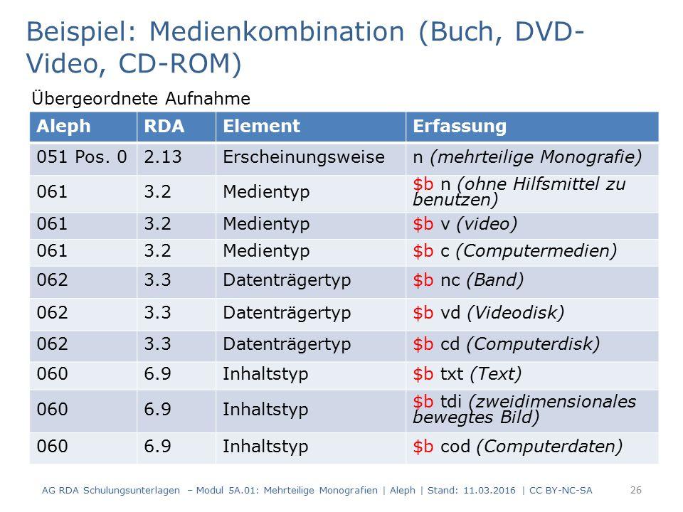 AG RDA Schulungsunterlagen – Modul 5A.01: Mehrteilige Monografien | Aleph | Stand: 11.03.2016 | CC BY-NC-SA 26 Beispiel: Medienkombination (Buch, DVD-