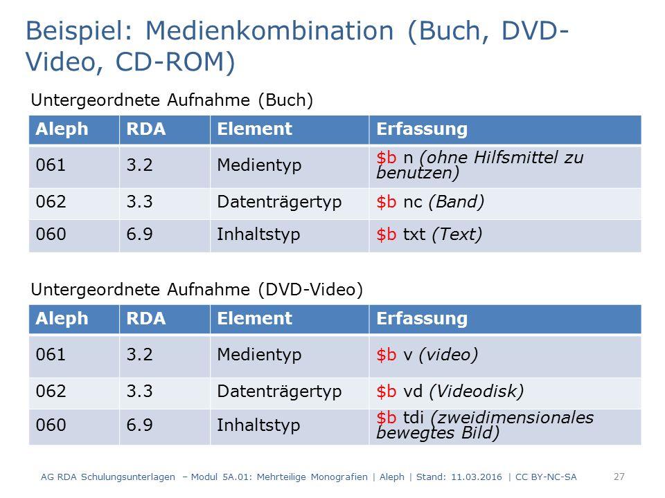 AG RDA Schulungsunterlagen – Modul 5A.01: Mehrteilige Monografien | Aleph | Stand: 11.03.2016 | CC BY-NC-SA 27 Beispiel: Medienkombination (Buch, DVD-