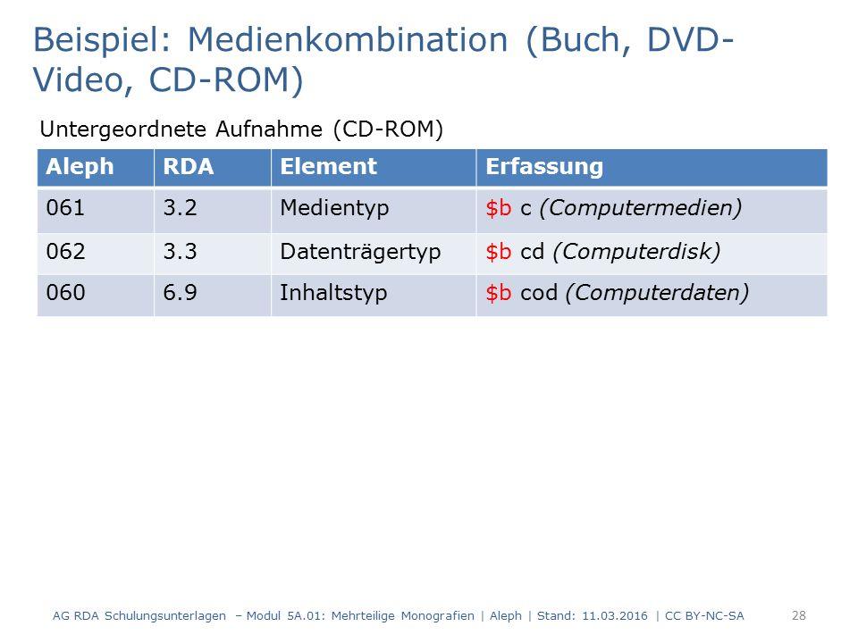 AG RDA Schulungsunterlagen – Modul 5A.01: Mehrteilige Monografien | Aleph | Stand: 11.03.2016 | CC BY-NC-SA 28 Beispiel: Medienkombination (Buch, DVD-