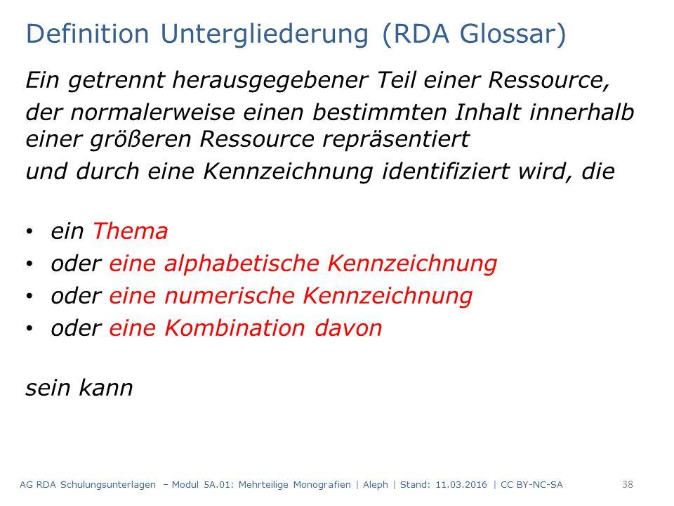 Definition Untergliederung (RDA Glossar) Ein getrennt herausgegebener Teil einer Ressource, der normalerweise einen bestimmten Inhalt innerhalb einer