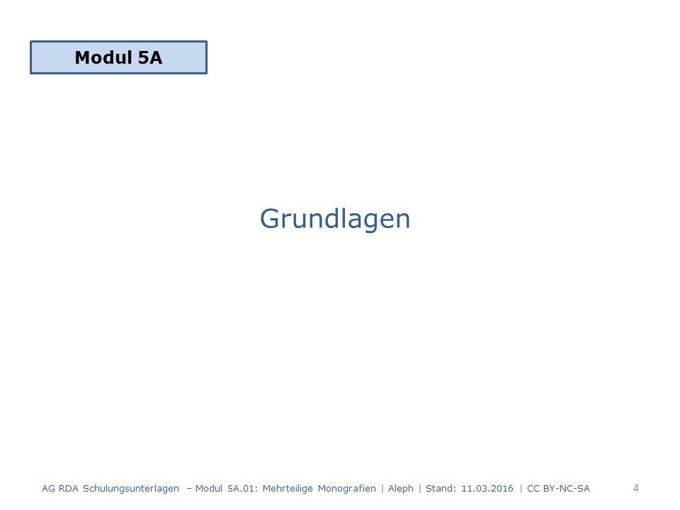 Grundlagen Modul 5A 4 AG RDA Schulungsunterlagen – Modul 5A.01: Mehrteilige Monografien | Aleph | Stand: 11.03.2016 | CC BY-NC-SA