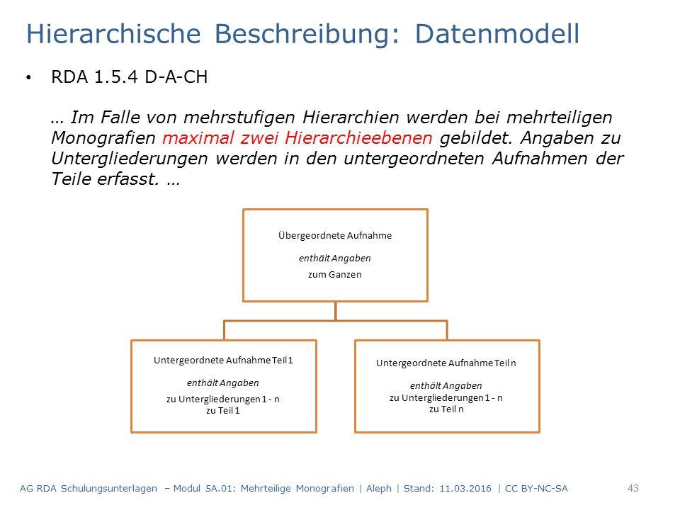 Hierarchische Beschreibung: Datenmodell RDA 1.5.4 D-A-CH … Im Falle von mehrstufigen Hierarchien werden bei mehrteiligen Monografien maximal zwei Hier