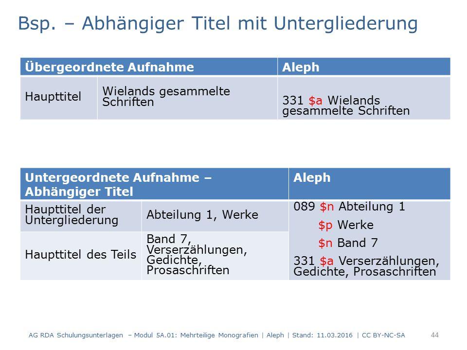 AG RDA Schulungsunterlagen – Modul 5A.01: Mehrteilige Monografien | Aleph | Stand: 11.03.2016 | CC BY-NC-SA 44 Bsp. – Abhängiger Titel mit Untergliede