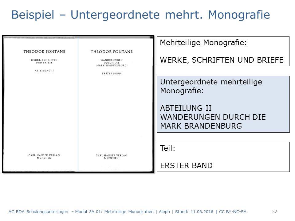 52 Beispiel – Untergeordnete mehrt. Monografie AG RDA Schulungsunterlagen – Modul 5A.01: Mehrteilige Monografien | Aleph | Stand: 11.03.2016 | CC BY-N