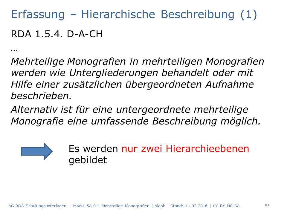 Erfassung – Hierarchische Beschreibung (1) RDA 1.5.4. D-A-CH … Mehrteilige Monografien in mehrteiligen Monografien werden wie Untergliederungen behand