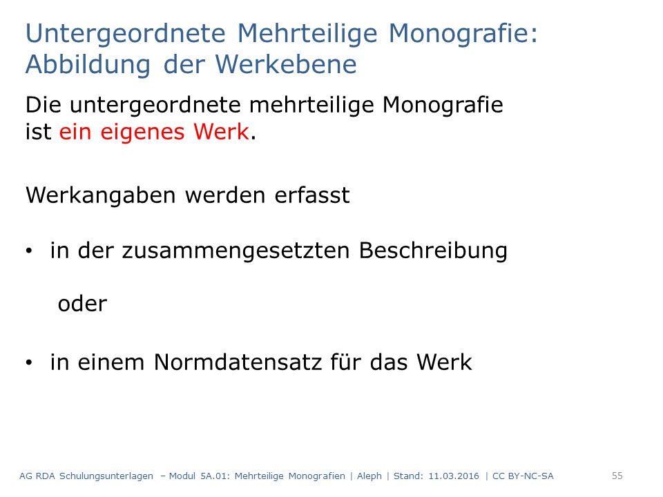 Untergeordnete Mehrteilige Monografie: Abbildung der Werkebene Die untergeordnete mehrteilige Monografie ist ein eigenes Werk. Werkangaben werden erfa