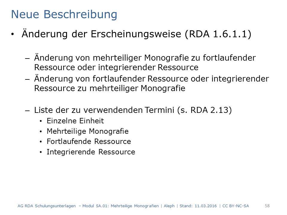 Neue Beschreibung Änderung der Erscheinungsweise (RDA 1.6.1.1) – Änderung von mehrteiliger Monografie zu fortlaufender Ressource oder integrierender R