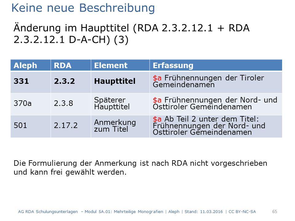 AG RDA Schulungsunterlagen – Modul 5A.01: Mehrteilige Monografien | Aleph | Stand: 11.03.2016 | CC BY-NC-SA 65 AlephRDAElementErfassung 3312.3.2Hauptt