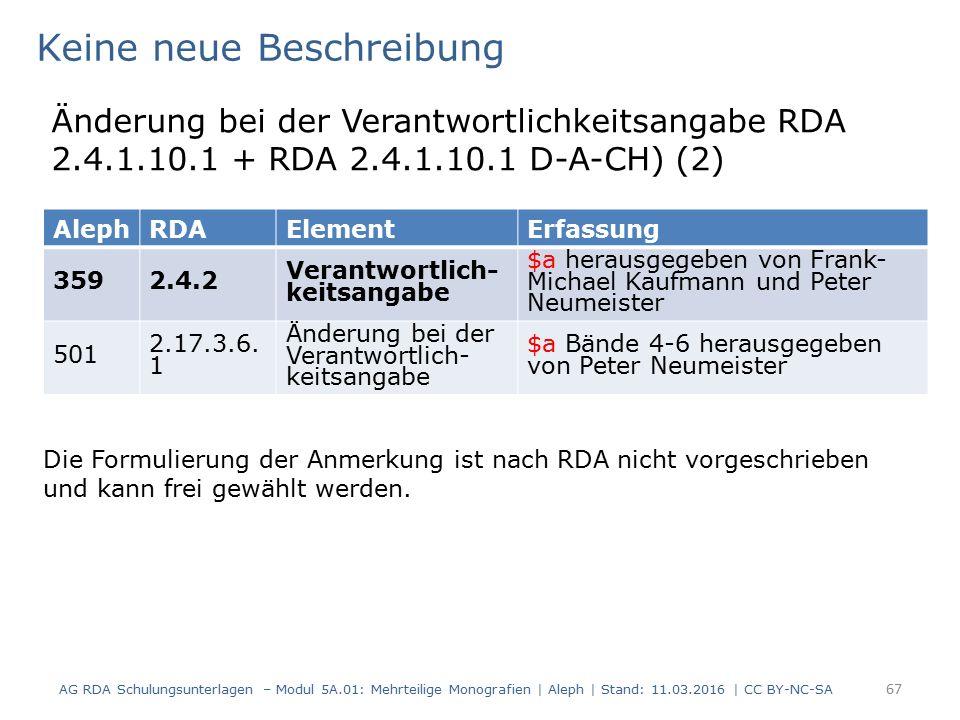 AG RDA Schulungsunterlagen – Modul 5A.01: Mehrteilige Monografien | Aleph | Stand: 11.03.2016 | CC BY-NC-SA 67 AlephRDAElementErfassung 3592.4.2 Veran