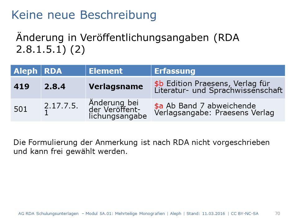 AG RDA Schulungsunterlagen – Modul 5A.01: Mehrteilige Monografien | Aleph | Stand: 11.03.2016 | CC BY-NC-SA 70 AlephRDAElementErfassung 4192.8.4Verlag