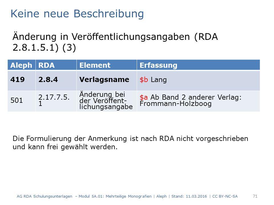 AG RDA Schulungsunterlagen – Modul 5A.01: Mehrteilige Monografien | Aleph | Stand: 11.03.2016 | CC BY-NC-SA 71 AlephRDAElementErfassung 4192.8.4Verlag