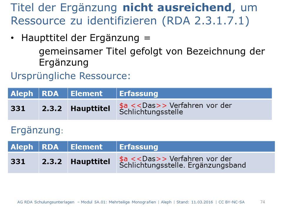 Titel der Ergänzung nicht ausreichend, um Ressource zu identifizieren (RDA 2.3.1.7.1) Haupttitel der Ergänzung = gemeinsamer Titel gefolgt von Bezeich