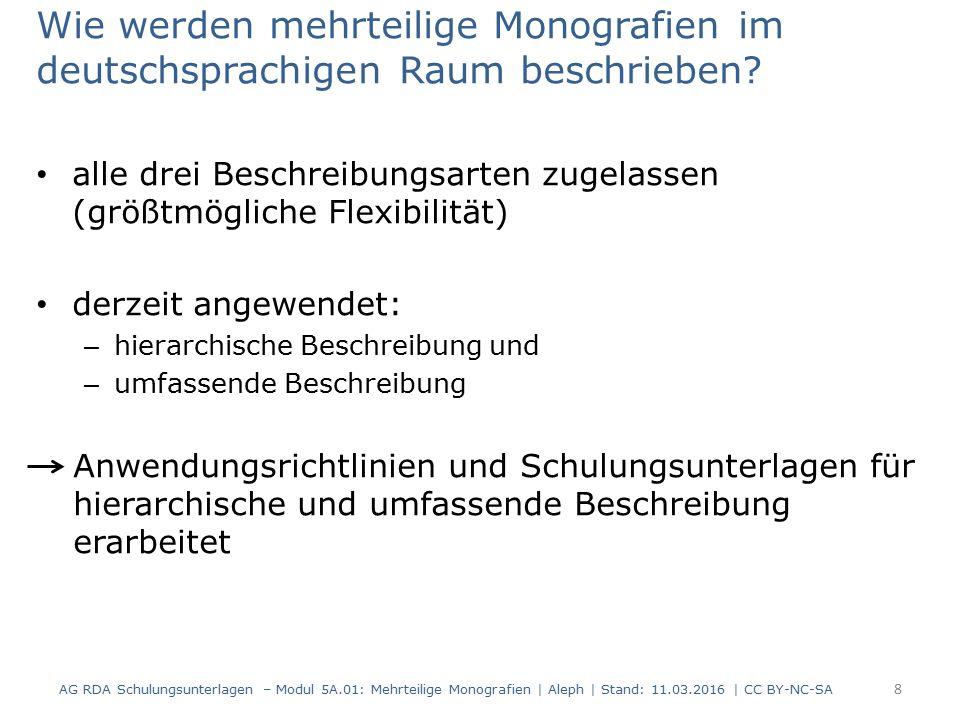Wie werden mehrteilige Monografien im deutschsprachigen Raum beschrieben? alle drei Beschreibungsarten zugelassen (größtmögliche Flexibilität) derzeit