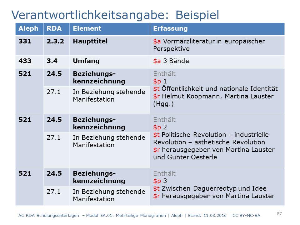 Verantwortlichkeitsangabe: Beispiel AlephRDAElementErfassung 3312.3.2Haupttitel$a Vormärzliteratur in europäischer Perspektive 4333.4Umfang$a 3 Bände
